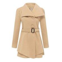 Fashion 2019 Women Khaki Casual Spring Autumn Jacket Female Elegant Adjustable Waist With Belt Long Sleeve casaco feminino