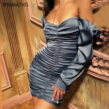 WannaThis Off Shoulder Backless Party Dresses V-Neck Ruched Puff Sleeve Solid Skinny Fashion Summer New Sexy Women Dress