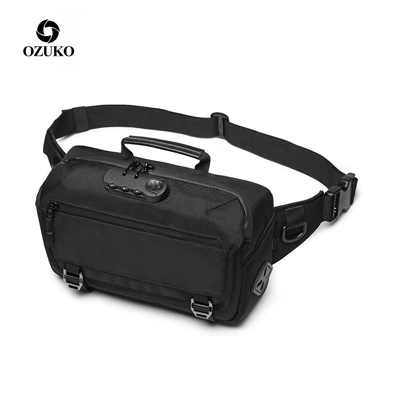 OZUKO Waist Bag Men Anti-theft Casual Fanny Pack Male Waterproof Travel Waist Bags USB Charging Chest Bag For Cell Phone Pocket
