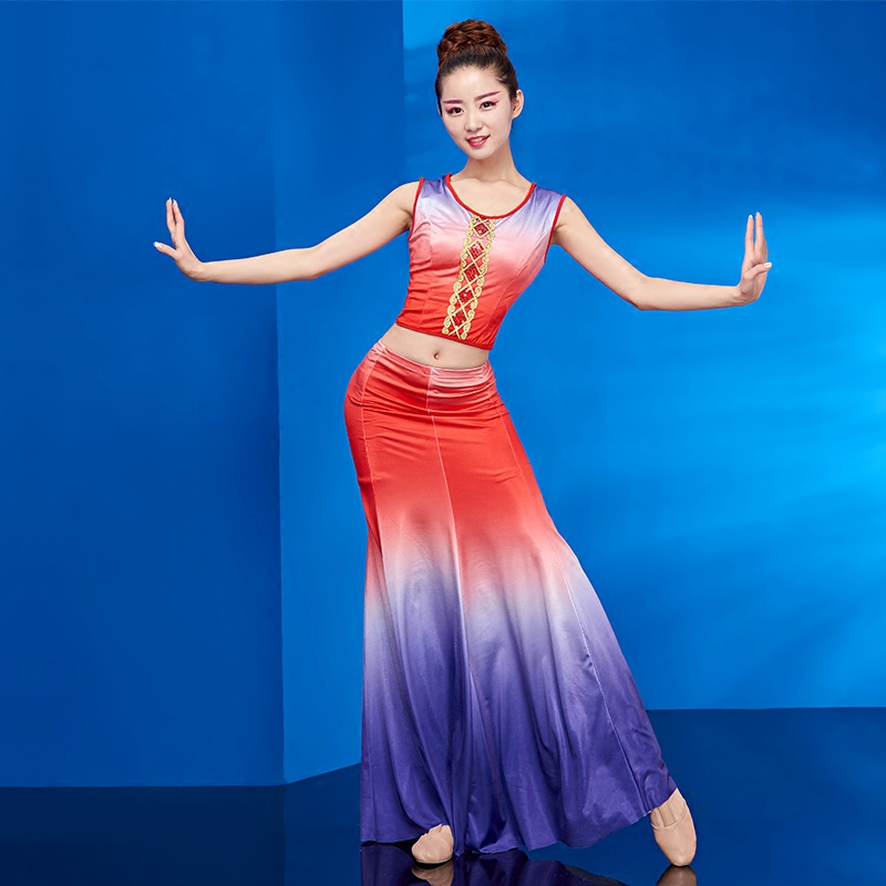 Chinese Dai Dance Costume Female Adult New Thai Art Test Peacock Dance Fishtail Skirt Ethnic Style Costume