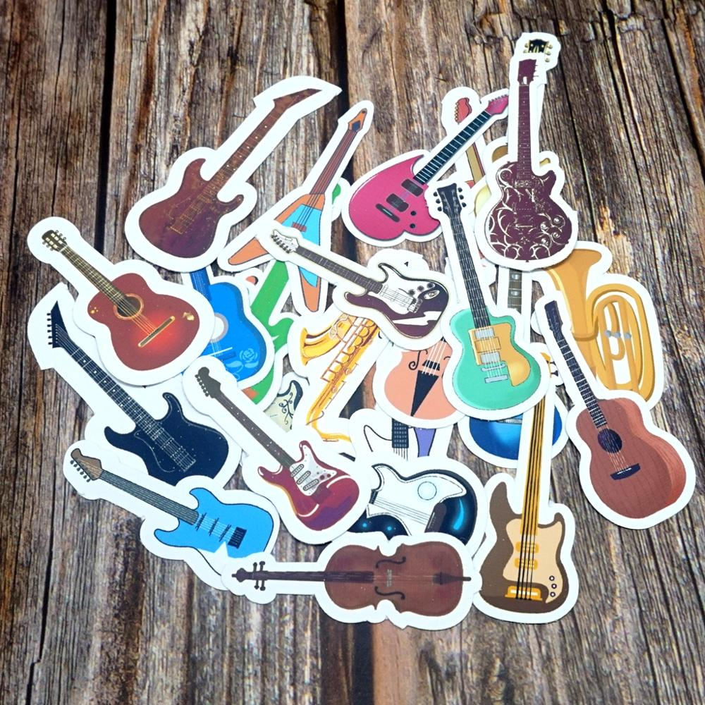 24PCS Colorful Musical Instrument Waterproof Stickers DIY Diary Decoration Stationery Sticker Cute Mixed Guitar Gift Stickers