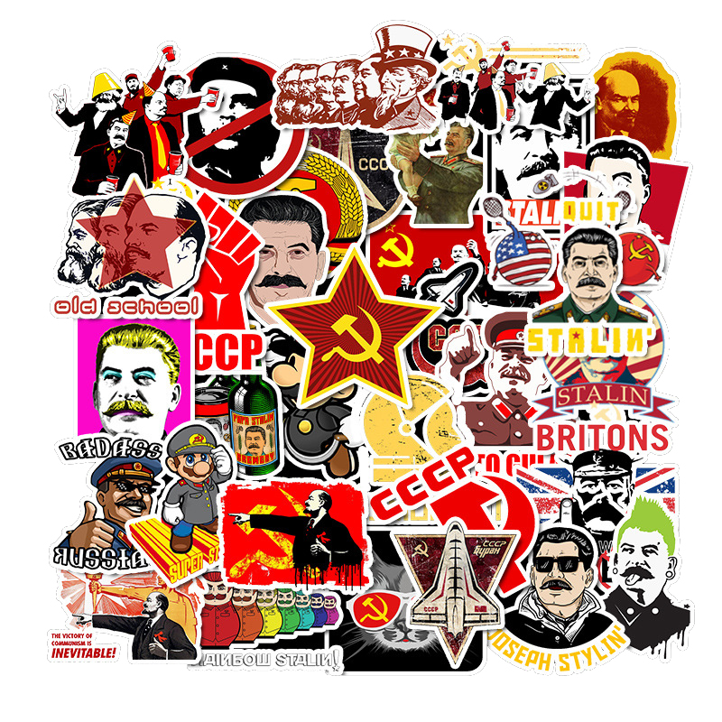 50pcs Soviet Union Stalin Computer Stickers Waterproof Luggage Laptop Phone Skateboard Mixed Graffiti Sticker For Notebook Decal