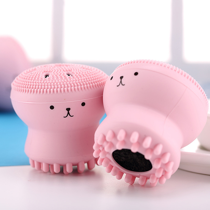 Silicone Facial Cleansing Brush Face Cleanser Wash Pore Cleaner Exfoliator Face Scrub Washing Brush Skin Care Octopus Shape Hot 1