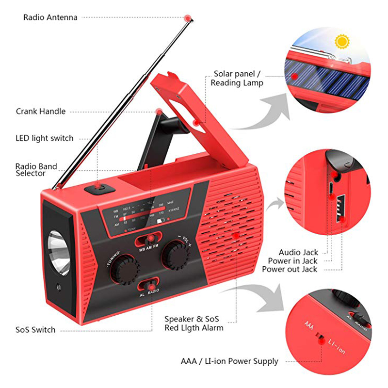 EDC USB Phone Emergency Charger Solar Hand Crank Portable Weather Radio For Outdoor Charger Camping Equipment