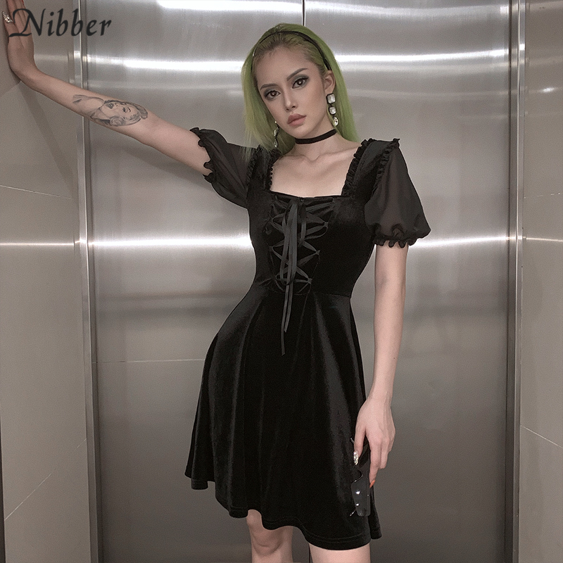 Nibber Elegant Club Party Night Pleated Dress2019autumn Loose See-through Mini Dress Mujer Retro Ruffle Slim Soft  Leisure Dress