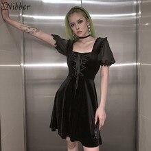 Nibber – mini robe de soirée plissée et transparente, tenue élégante de soirée en boîte de nuit, ample, transparente, rétro, à volants, Slim, douce, pour loisirs