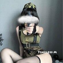Conjunto de lingerie erótica do exército, fantasia sexy, uniforme roleplay, policial, vestido soldado, festa de halloween, cosplay militar, roupas