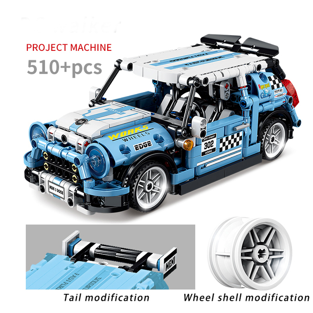 MOC 510pcs Classic City Pull Back Sports Racing Car Building Block Model High-Tech Vehicle Kid Toy Assembled DIY Bricks Gift 1