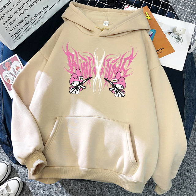 New mymelody dark women's hooded long-sleeved trendy gothic style plus cashmere winter Harajuku style hooded sweatshirt 6