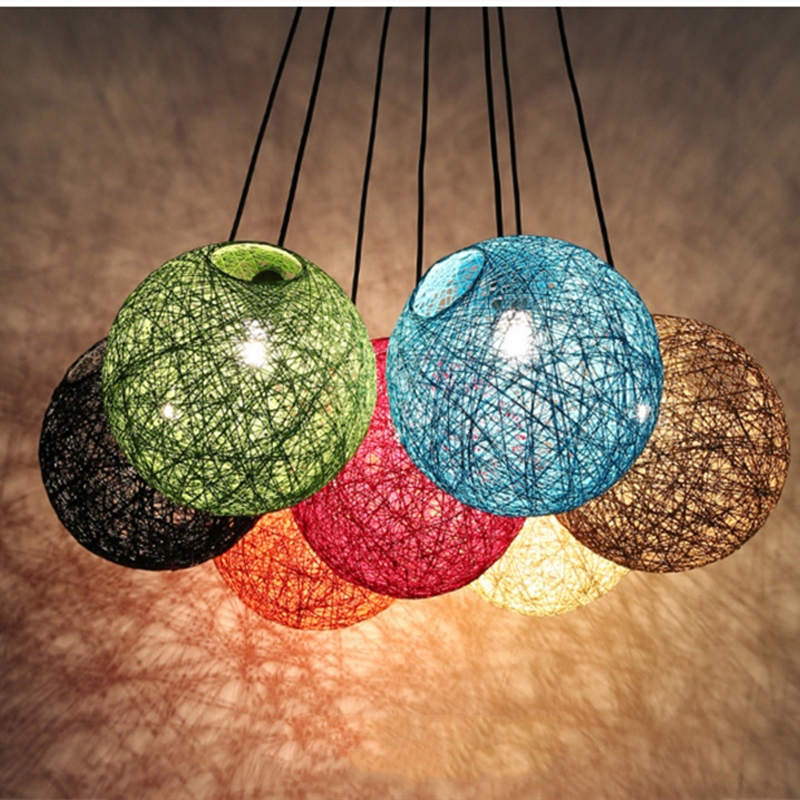 Nordic Modern Hand woven rattan ball chandelier light lamp for home coffee store bar loft dining room decor E27 White Black|Chandeliers| |  - title=