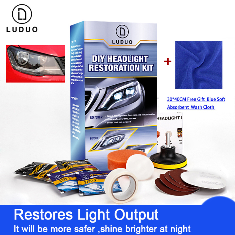 LUDUO Headlamp Repair Headlight Restoration Kits For Toyota Polish Cleaner Paste Wash Brightener Repair Paint Care With Cloth