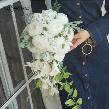 Waterfall White Wedding Bouquet Teardrop Romantic Roses Lace Holder Handmade Country Wedding Flowers for Bride Bridal Bouquet