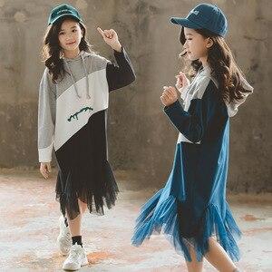 Image 4 - 여자 긴팔 후드 드레스 새로운 스타일 2019 가을 새로운 어린이 패치 워크 드레스 히트 컬러 메쉬 원사 프로 베이비 드레스, #8005