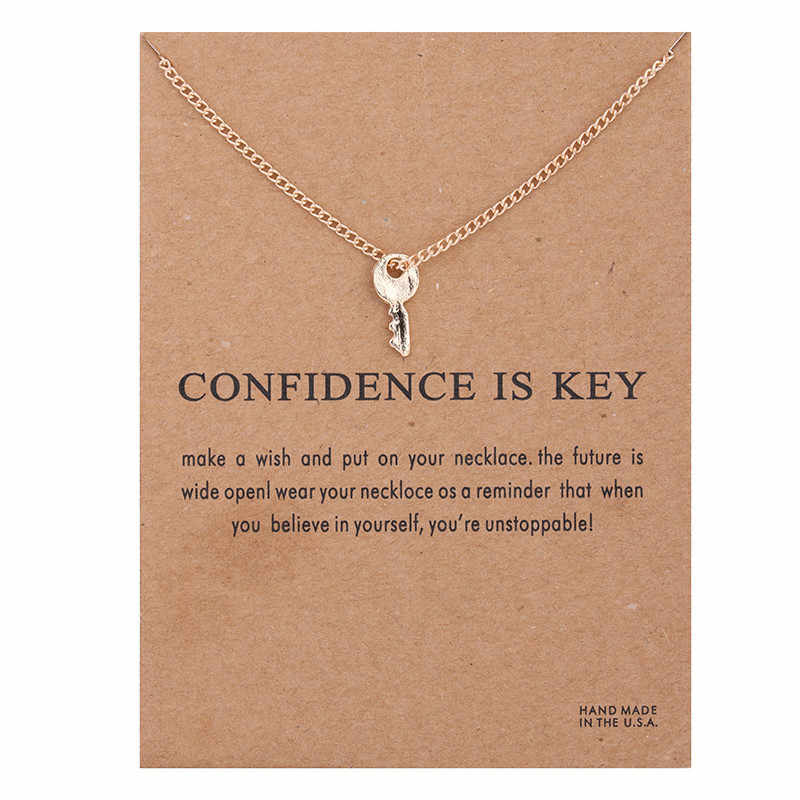 Fashion Key Necklace Women Pendant Clavicle Chain Statement Choker Necklaces Gift Card Collares Mothers Day Jewelry