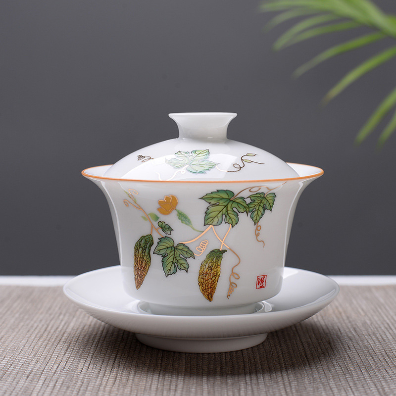High Quality White Bone China Gaiwan Tea Set,White Kung Fu Tea Set,Travel Ceramic Tea Set,Chinese Porcelain Gaiwan Cup
