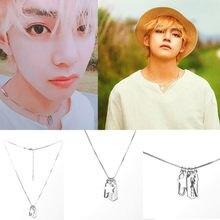 Kpop colar v mesmos acessórios bangtan meninos tendência moda personalidade titânio lâmina de aço presente lembrança