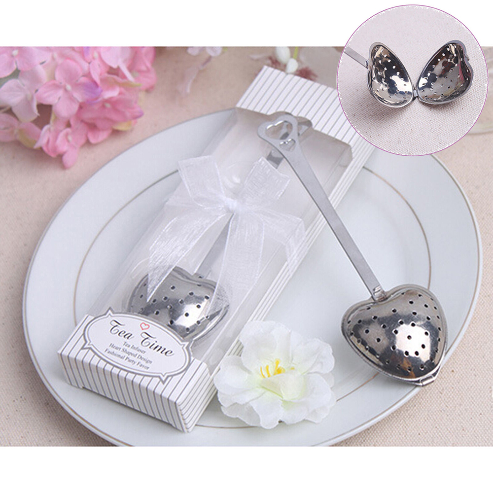 Stainless Steel Heart-Shaped Clip Measuring Spoons with Heart Love Tea Party Infuser Egg Beater Wedding Party Gift Box favors
