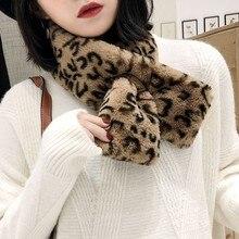 2019 Women?s Faux Fur Scarf  Fur Collar Winter Thickened Fluffy Warm Leopard Print Neck Scarf  Short Paragraph Korean Version