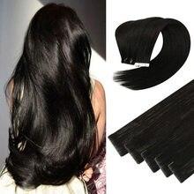 Fita da categoria de newnewnewugeat 10a em extensões do cabelo humano cor preta # 1b cabelo invisível da trama da pele cabelo natural do virgin da injeção 2.5 g/p