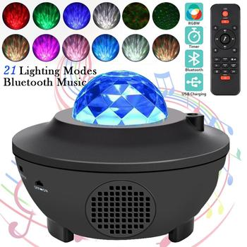 USB LED Star Night Light Music Starry Water Wave LED Projector Light Bluetooth Projector Sound-Activated Projector Light Decor usb night projector ocean wave projector music starry sky projector kids room decoration night lamp bluetooth sound activated
