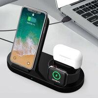 Soporte de cargador inalámbrico rápido, 15W, para iPhone 12, 11, XS Max, x, 8 Plus, Airports Pro, Apple Watch 6, 5, 4, 3, carga 3 en 1
