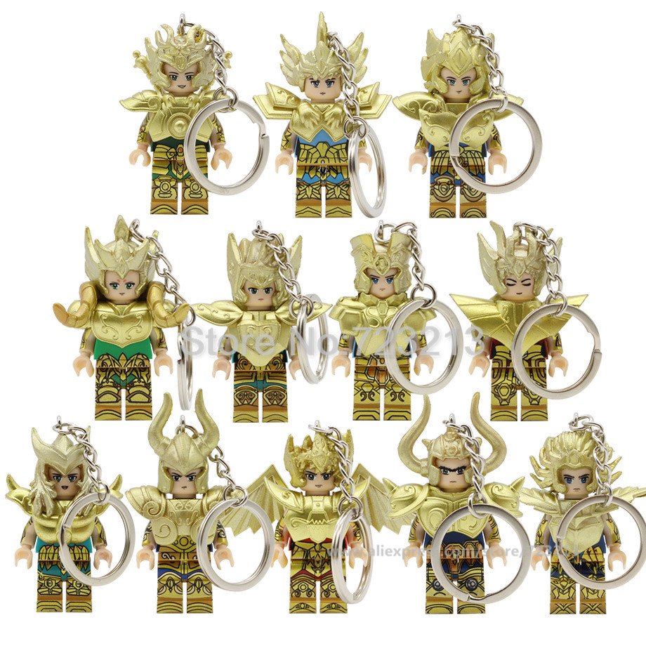 Gold Saint Seiya Figure Keychain Mu Athena Cartoon Aldebaran SAGA Shaka Dohko Milo Aiolos Building Blocks Model Bricks Toys