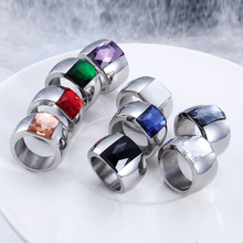 Luxury Stainless Steel Dazzling Elegant Women Fashion Youn Party Accessories Colorful Glass Ring - 1 Piece
