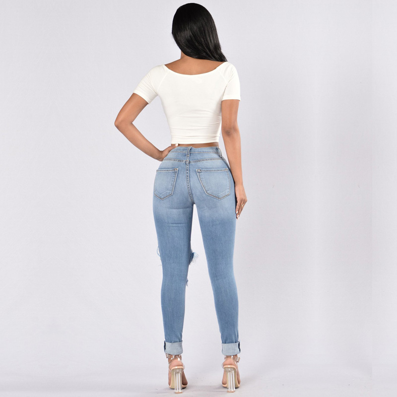 Ripped High Waist Jeans Woman Button Pockets Hole Sexy Pencil Pants Casual Jeans for Women Clubwear Plus Size Distressed Jeans in Jeans from Women 39 s Clothing