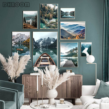 Nature Landscape Wall Art Poster Forest Mountain Canvas Painting Lake Boat Print Nordic Decorative Picture Modern Home Decor