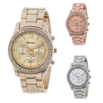 Geneva-Reloj clásico para Mujer, con diamantes de imitación, a la moda, femenino