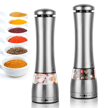 Electric Salt And Pepper Grinder Automatic Stainless Steel Seasoning Spice Grinder Adjustable Coarseness Mills Kitchen Tools