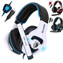 Gaming Headphones SADES Gameplayer SA-903 USB Wired with Led-Light Deep-bass-7.1/Surround-sound/Usb