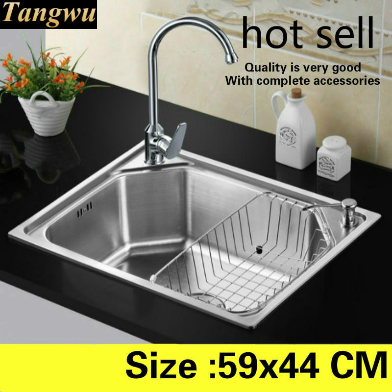 Free Shipping Kitchen Balcony Sink Food-grade 304 Stainless Steel Mini Standard Single Slot Hot Sell 59x44 CM