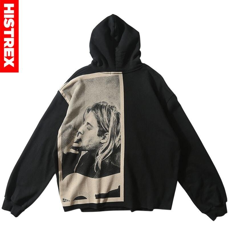 Men Hip Hop Hoodie Sweatshirt Smoking Kurt Cobain Print 2019 Streetwear Hoodie Pullover Harajuku Loose Hoodie Nirvana Nevermind