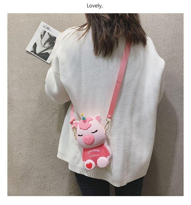 Q UNCLE Pink Mini Handbags Cartoon Protable Messenger Shoulder Bag Crossbody Silicone Bags Mobile Phone Bag For Huawei IPhone X