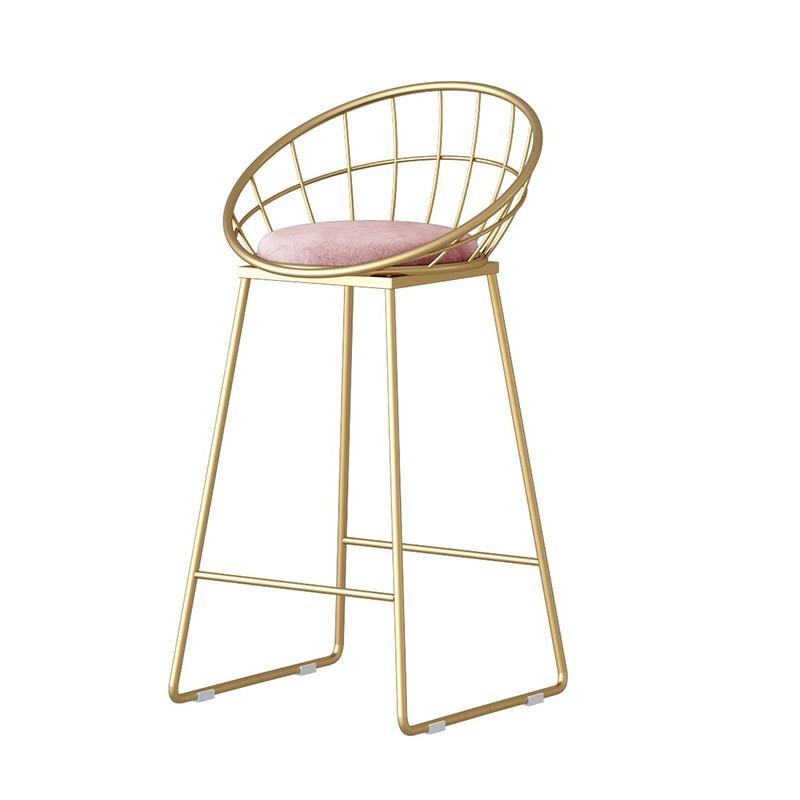Iron Art Nordic Backrest Bar Chair Golden Clothing Store Photo Tall Home Modern Minimalist Net Red High Stool