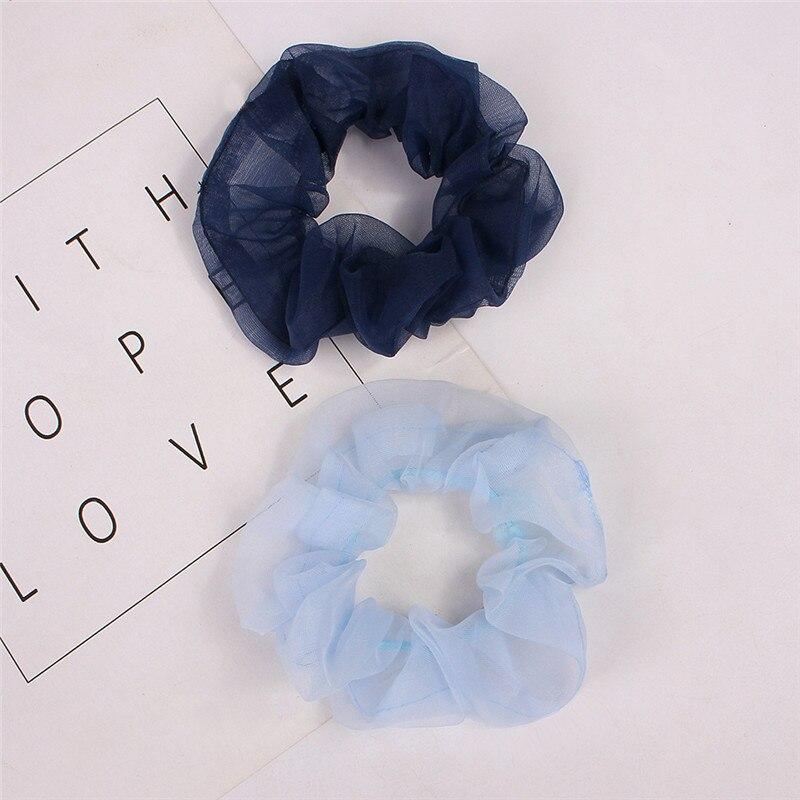 Women Solid Chiffon Mesh Scrunchie Transparent Cloth Elastic Hair Rope Hair Tie