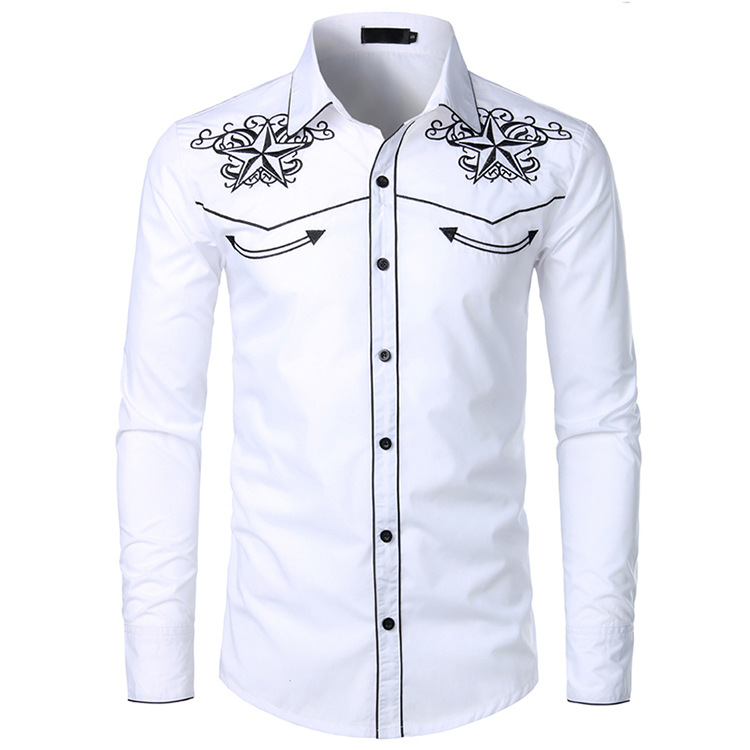 MEN'S WEAR 2019 MEN'S Shirt Long-sleeved Upper Garment Embroidered Shirt Western Cowboy-Style Shirt Men's Lc13