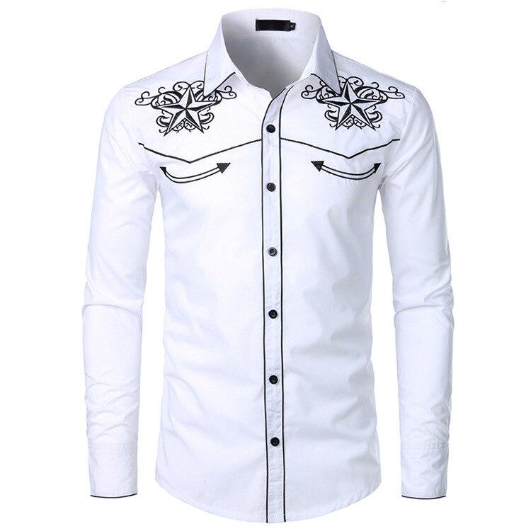 MEN'S WEAR 2019 MEN'S Shirt Long-sleeved Upper Garment Embroidered Shirt Western Cowboy-Style Shirt Men's Lc13