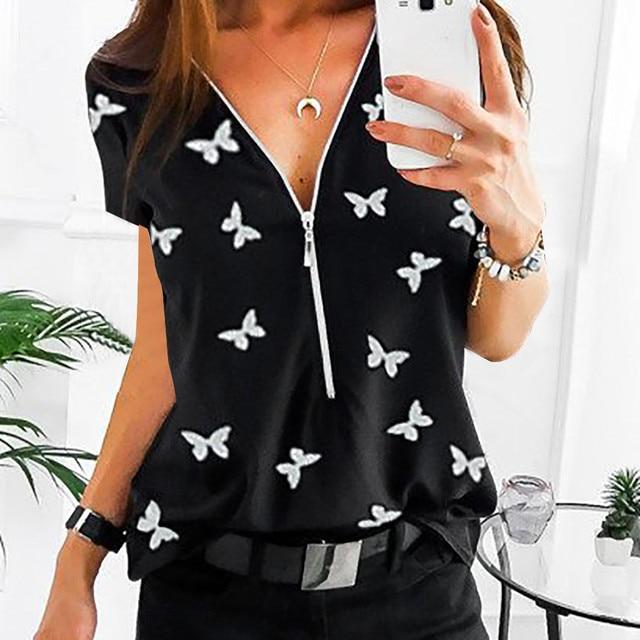 Women Tops T-Shirts Autumn Elegant Short Sleeve Print V-Neck Female Work Zipper Shirts Plus Size Tops 5XL Mujer Blusa clothes