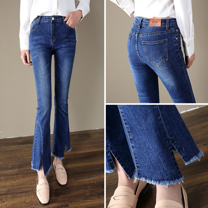 Capri Casual High-waisted Students Slimming Weila Pants Women's 2019 Autumn New Style Slimming Versatile Jeans Women's