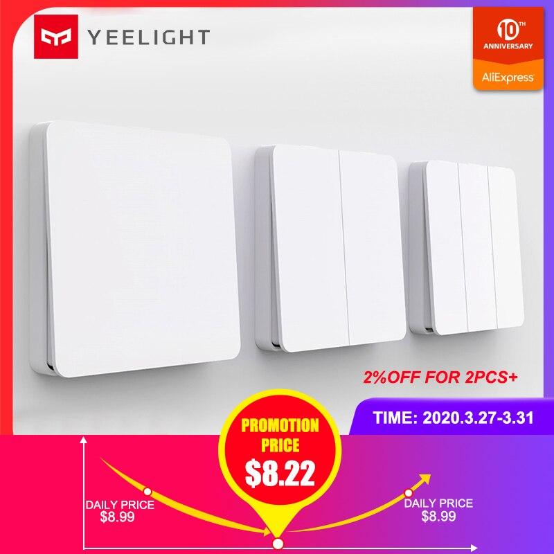 Yeelight Smart Wall Switch Self-Rebound Design Support Slisaon For Ceiling Light YLKG12YL/YLKG13YL/YLKG14YL