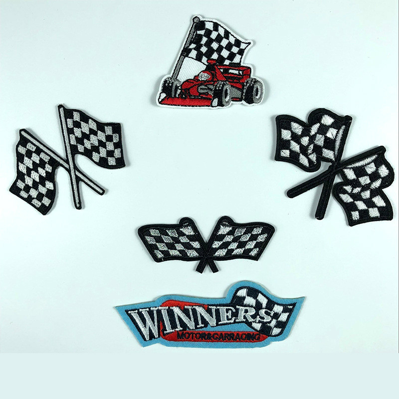Racing Car Motorcycle Winner Symbol Patch Embroidered DIY Grid Racing Flag Sticker for Clothes Apparel Garment Badge Wholesale