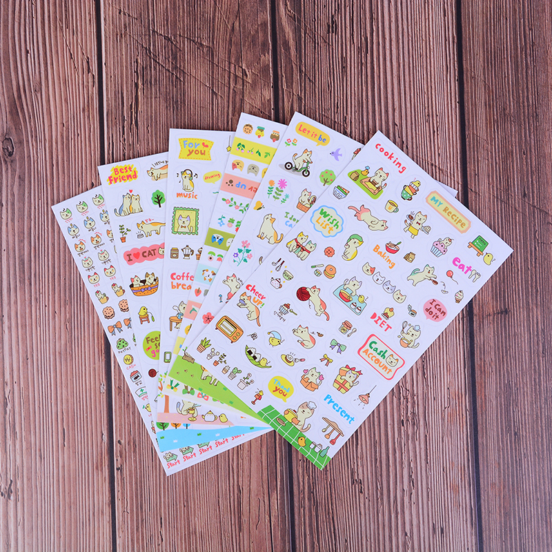 6pcs/set Kawaii Paper Stickers Cartoon Cat Sticky Paper For Kids Gift DIY Scrapbooking Stickers Stationery Random Style