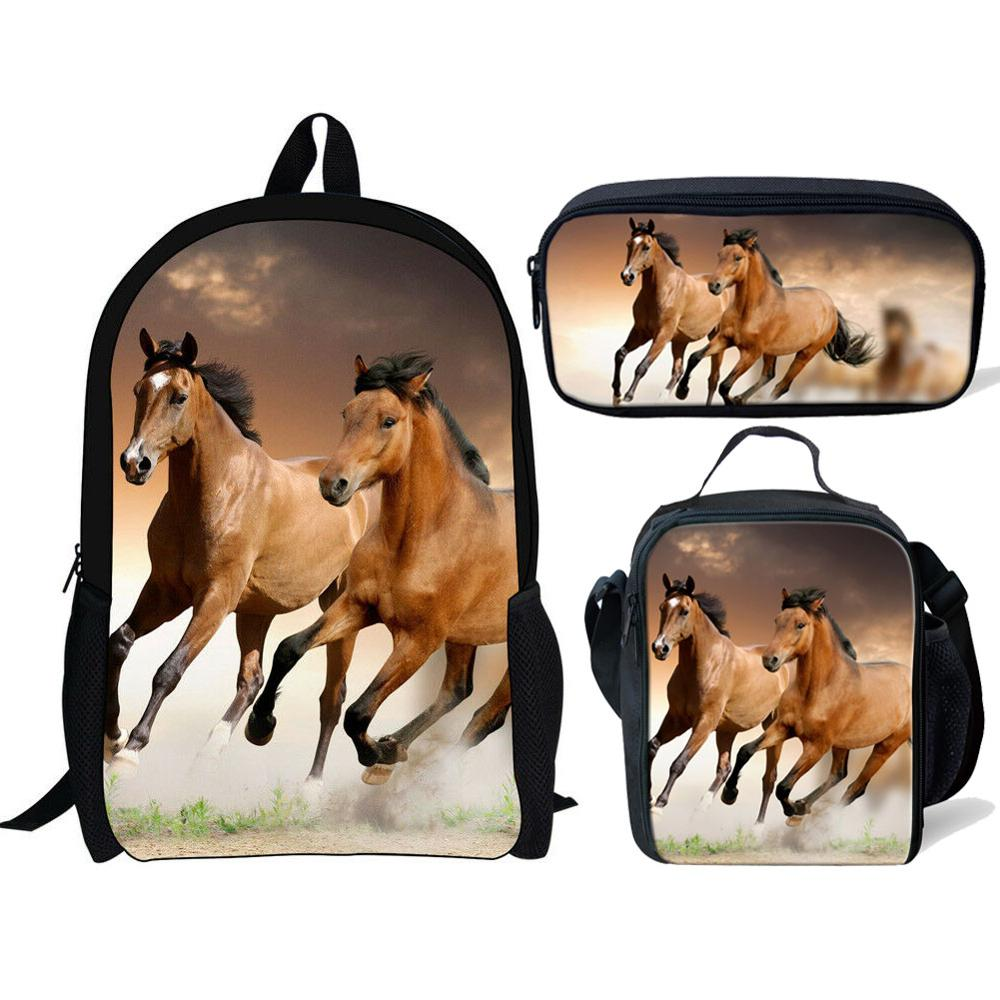 School Bags For Teenage Girls Boys Kids Book Bags Schoolbag Large Capacity Cute Horse 3D Print Children Backpack Set Pencil Bag
