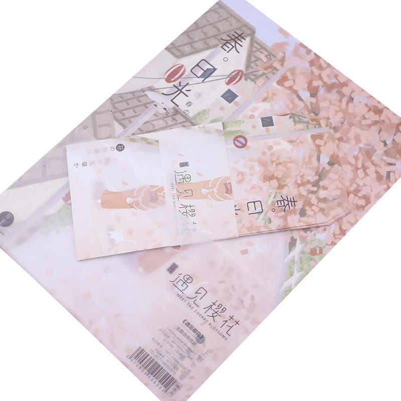 Piękny papier kawaii kartka z kopertą przedstawia dzieci z materiałami szkolnymi piękne koperty owocowe i artykuły papiernicze