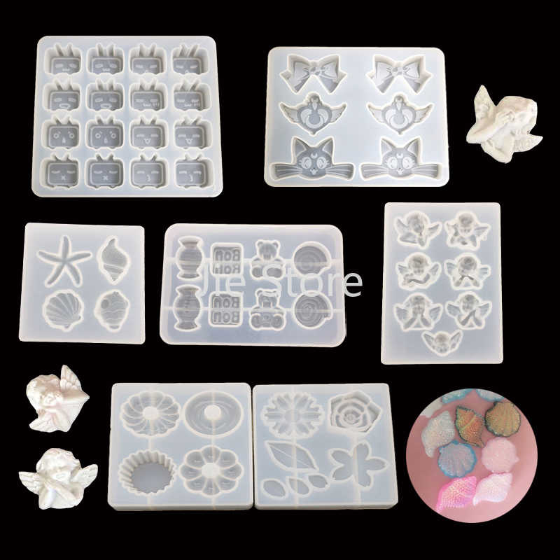 1 Pc Cute Shell Angel Bunga Berbentuk UV Resin Epoxy Cetakan Perhiasan Aksesoris DIY Kerajinan Perhiasan Alat