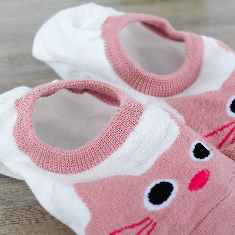 10pieces= 5 pairs Women Cotton Sock Slippers Cute Cartoon Animal Non Slip Silicone Shallow Mouth Invisible Short Ankle Socks Set