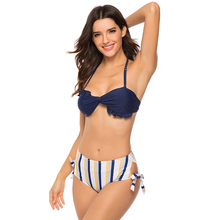 bikini 2019 swimsuit with tie separate push-up sexy Deep V Neck stripe high waist Bikini suit