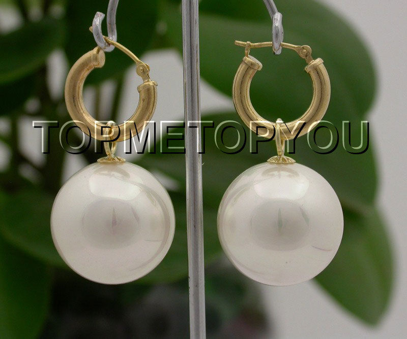 DYY Free Shipping >>>> Genuine AAA Dangle big 20mm white round sea shell pearl Earrings 14K hoop E1599